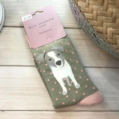 Olive Jack Russell Pup Socks