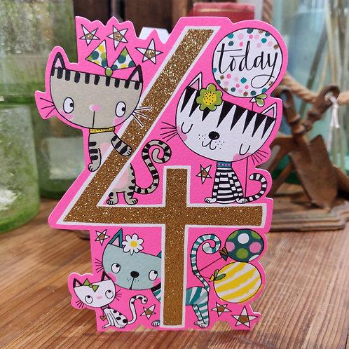 Rachel Ellen Greeting Card Age Birthday 4 Girl
