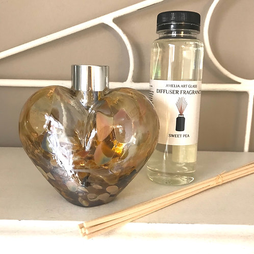 Amber Glass Heart Fragrance Diffuser