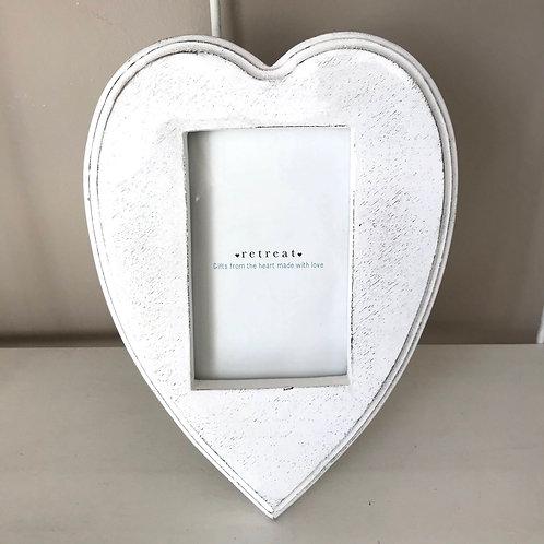 Whitewashed Heart Frame