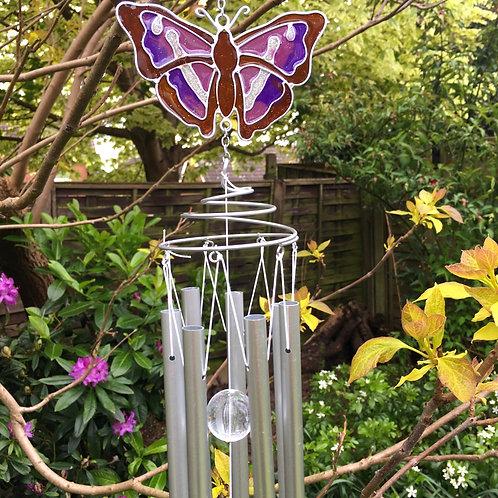 Purple Emperor Butterfly Windchime Garden Decor Gift Close-up