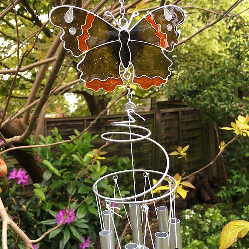 Red Admiral Butterfly Windchime Garden Decor Gift Close-Up