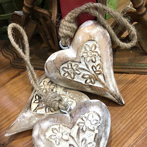 Small Wooden Carved Heart
