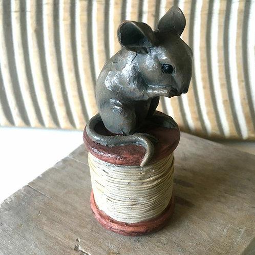 Mouse on Cotton Reel Bobbin Cute