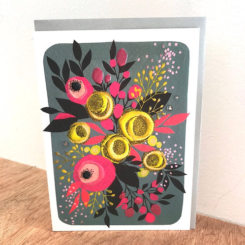 Hot Pink Flowers Blank Card