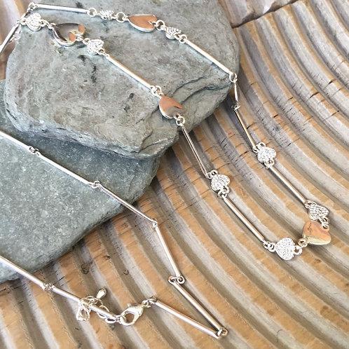 Nicolette Silver Heart Diamante Necklace