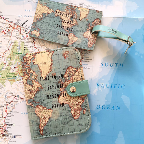 Time To Go Explore World Map Passport Cover & Luggage Tag Front View