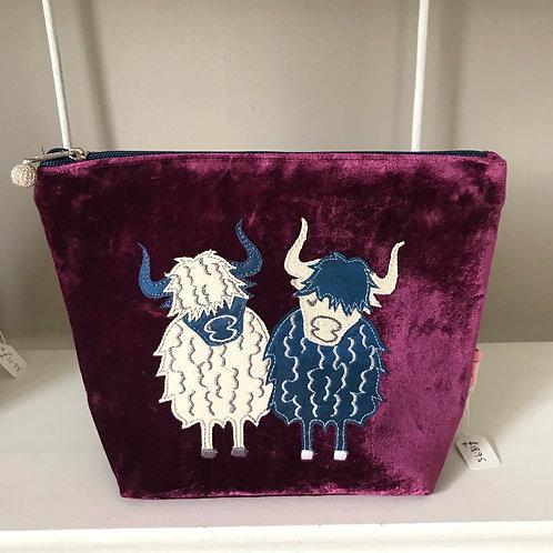 Purple Highland Cow Cosmetic Bag