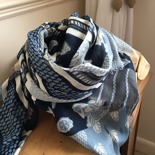 Navy, Pale Blue and Ivory Scarf