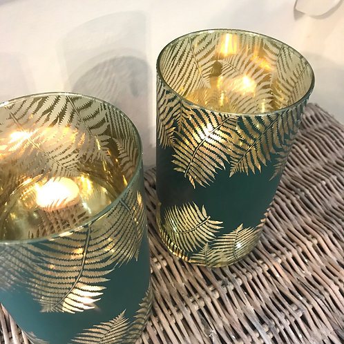 Green and Gold Palm Leaf Glass Candle Holder Close-Up