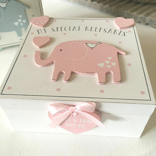 Baby Girl Keepsake Box Pink Elephant Heart Ribbon