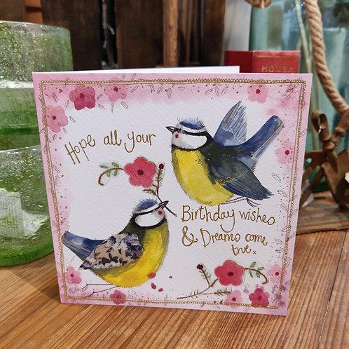 Happy Birthday Greeting Card Alex Clark Blue Tits
