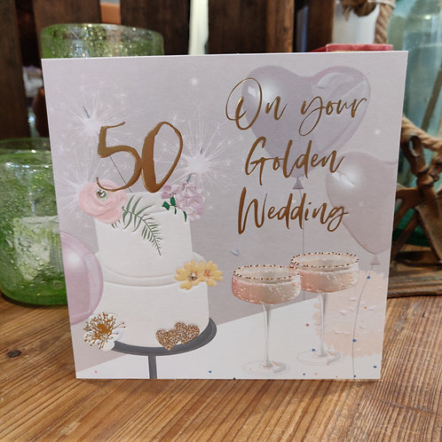 Anniversary Belly Button Design Greeting Card 50 Golden