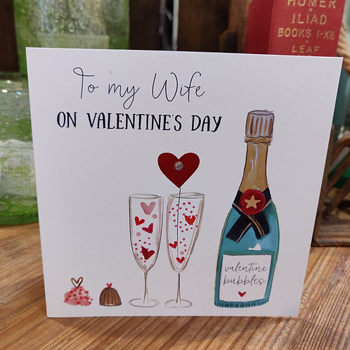 Valentine's Day Greeting Card Katie Phythian Wife Champagne