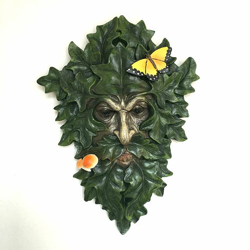 Gus the Green Man Wall Plaque Gift Man of the Woods Butterfly Toadstool