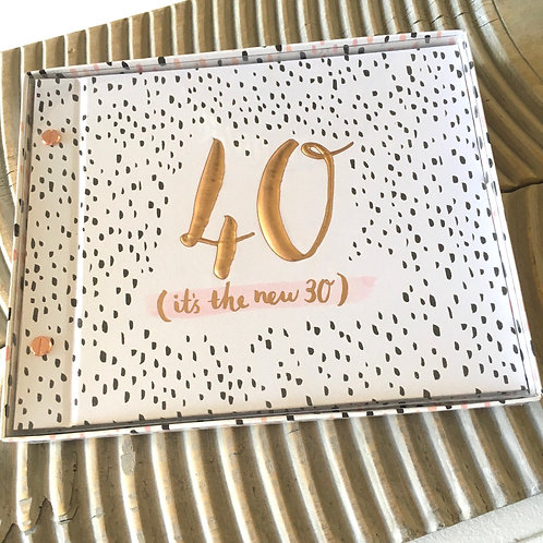 40 it's the new 30 birthday photo album guest book hotchpotch luxe front