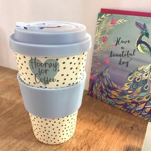 Hooray for Coffee Bamboo Travel Mug