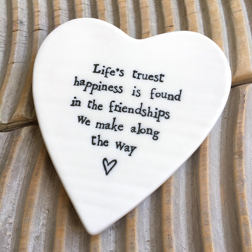 Life's truest happiness heart coaster friendship friend gift porcelain east of india
