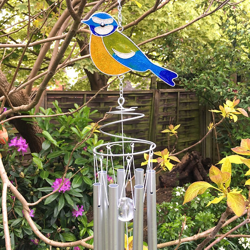 Blue Tit Bird Windchime Garden Decor Gift Close-Up