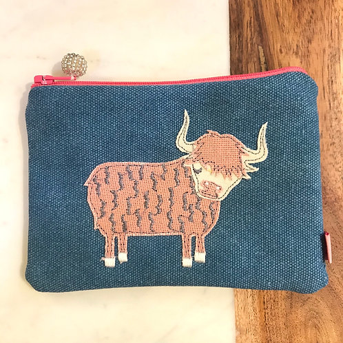 Blue Highland Cow Cosmetic Purse