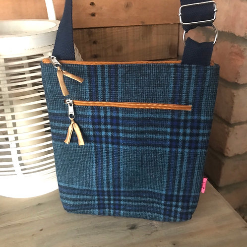 Blue Check Messenger Bag