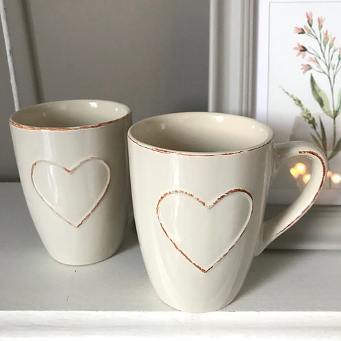 Set of 2 Heart Mugs
