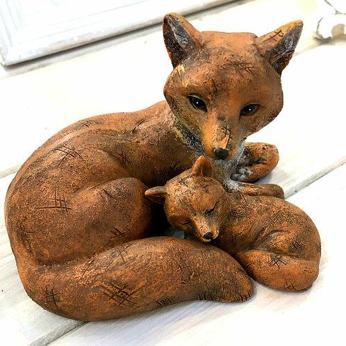 Mother Mummy Baby Fox Cute Love Resin Ornament