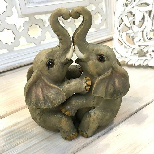 Elephant Embrace Cuddle Love Resin Cute Ornament