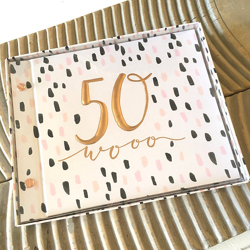 50 wooo birthday photo album guest book hotchpotch luxe front fifty