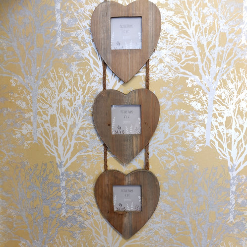 Driftwood Triple Hanging Heart Photo Frame Sustainable Wood Gift