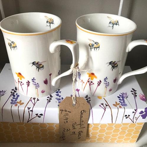 Set of 2 Bumblebee Mugs