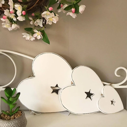 White Star Wooden Hearts