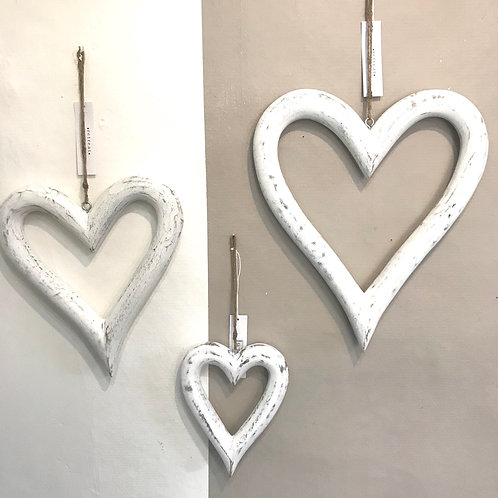 Wooden White Hearts