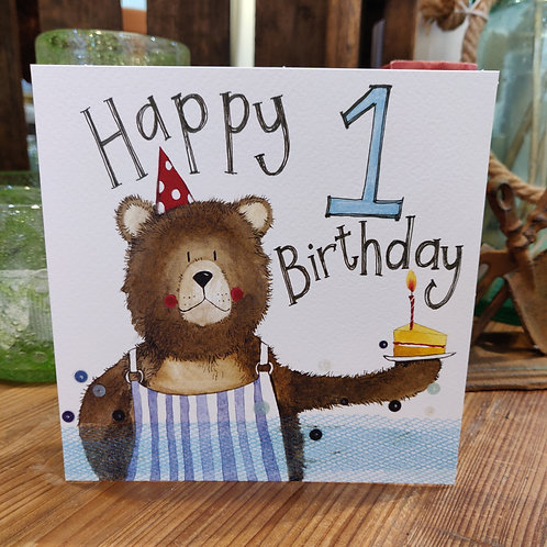 Age Birthday Greeting Card Alex Clark 1 Bear