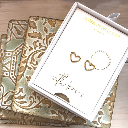 Fabulous Friend Joma Jewellery Gold Heart Earrings Sterling Silver Studs