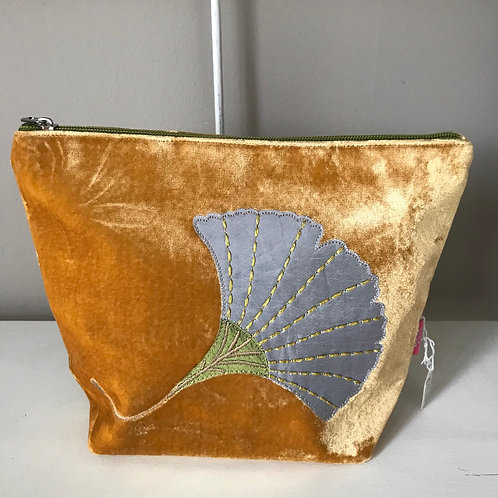 Mustard Gingko Leaf Cosmetic Bag
