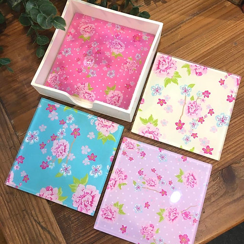 Floral Glass Coasters