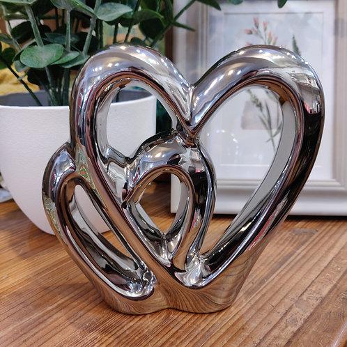 Ceramic Chrome Finish Double Heart