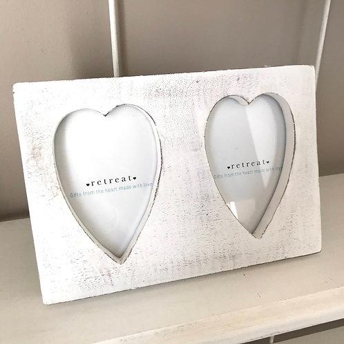 Whitewashed Double Heart Frame