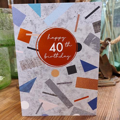 Cinnamon Aitch Greeting Card Birthday Age 40