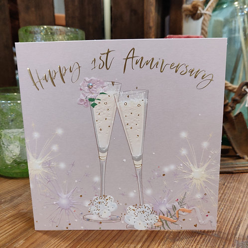 Anniversary Belly Button Design Greeting Card 1st