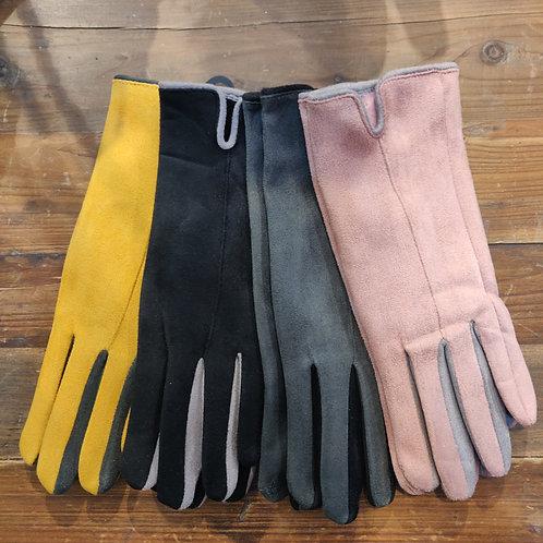 Pink Tuck Gloves Ladies
