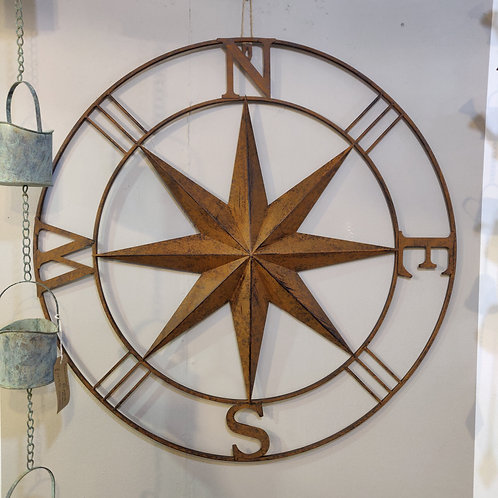Large Rust Effect Wall Compass