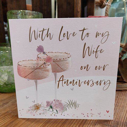 Anniversary Belly Button Design Greeting Card Wife