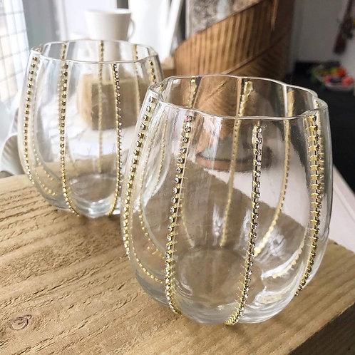 Glass Diamanté Candle Holder