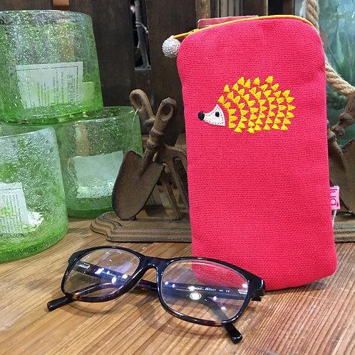 Embroidered Hedgehog Glasses Purse