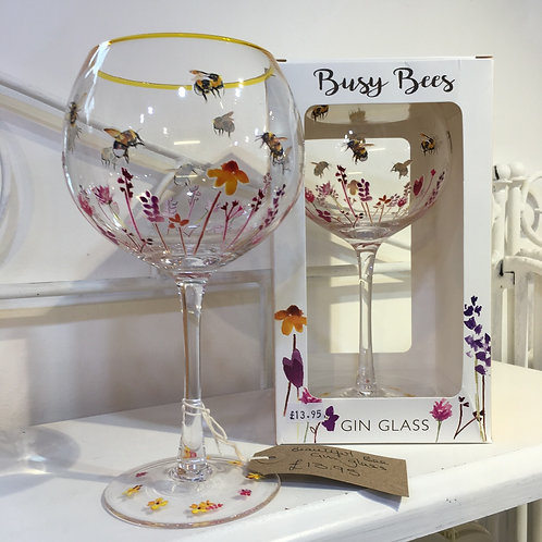 Beautiful bee gin glass