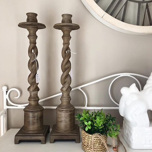Twisted Wooden Candlesticks