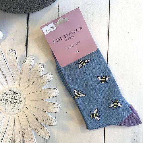 Blue Bumble Bee Socks