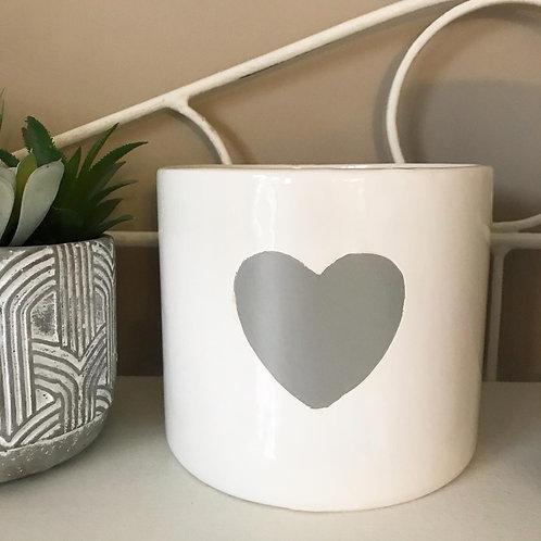 Ceramic White Heart Plant Pot